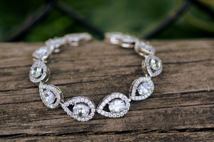 Graduate Bridal Bracelet, Cubic Zirconia Bracelet, Wedding Bracelet, Bridal Cuff, Crystal leaf , Clear Crystal Bracelet. Link Bracelet by simplychic93 on Etsy