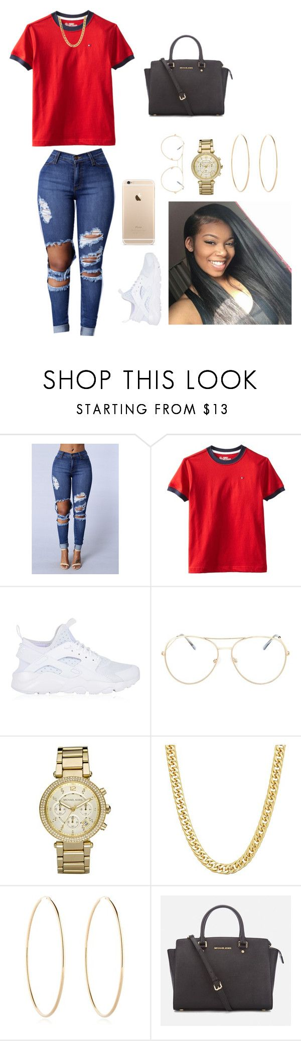 """""""Micheal Kors✖️Tommy❣️"""" by tamia0422 ❤ liked on Polyvore featuring Tommy Hilfiger, NIKE, Topshop, Michael Kors and Maria Francesca Pepe"""