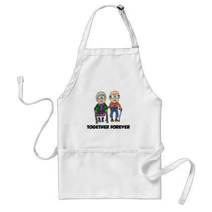 Together Forever Old Couple Cartoon Funny Apron - romantic gifts ideas love beautiful