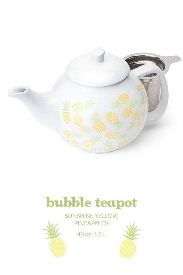 This classic teapot comes in a fun pineapple print. Includes infuser. 45oz.