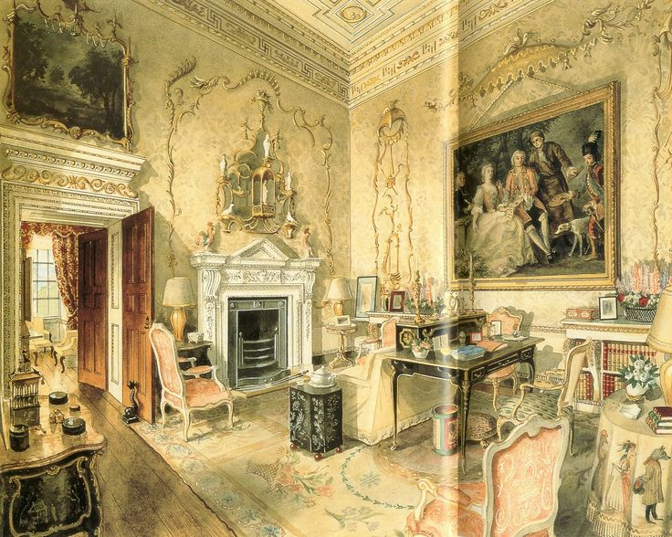 The Tapestry Room at Ditchley Park.  Watercolor by Alexandre Serebriakoff.