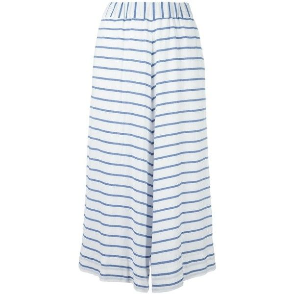 Antonio Marras Striped Cropped Trousers (11,330 EGP) ❤ liked on Polyvore featuring pants, capris, white striped pants, white crop pants, striped trousers, white pants and cropped capri pants
