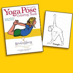Download free sample!! Yoga Pose coloring book! Spiraling hearts. Kids Yoga