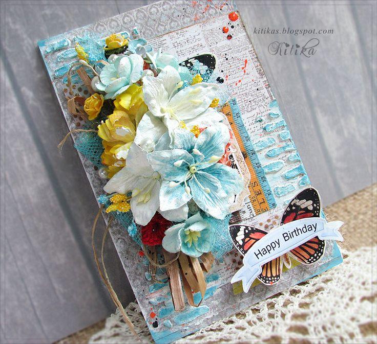 Днем рождения, скрапбукинг открытки с лилиями