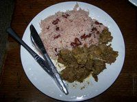 Jamaica Culture and Heritage---curry goat with rice and peas