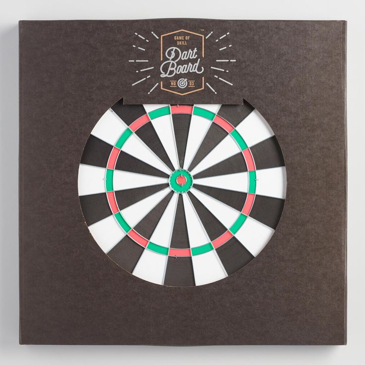 World Market - Hang this reversible dartboard on the wall of your den or game room, grab a friend or two and get ready for a thrilling game of skill. This classic game includes two sets of three darts, and features a traditional target design on one side and a target board to challenge your aim on the reverse side.