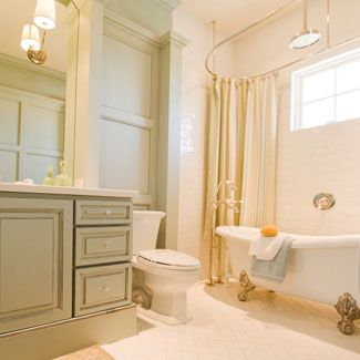 Create a soothing, spa-like bathroom by choosing a pale color palette.