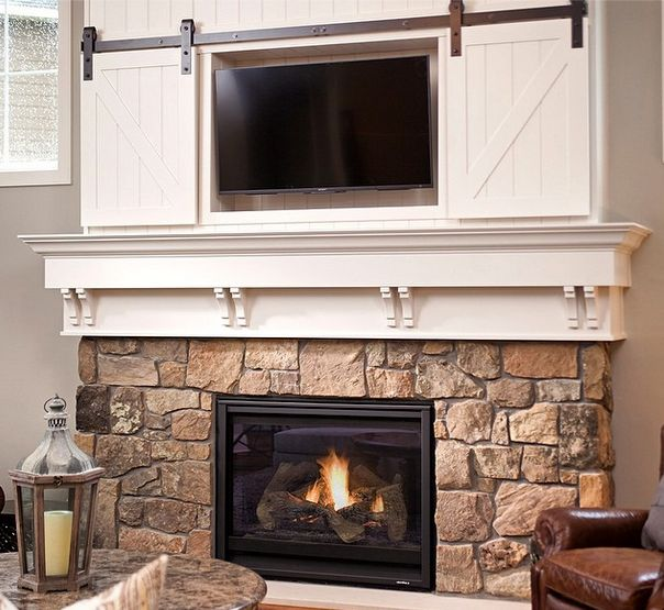 Mini Barn Door Sliding Doors Over Fireplace Classy Way