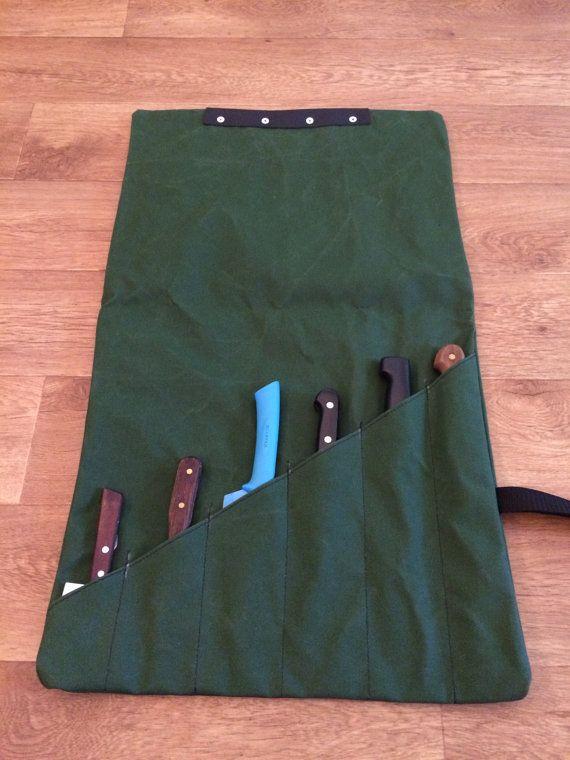 SALE Canvas Knife Roll Bag Green Colour with por TonUpCanvas