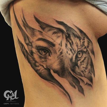 Afbeeldingsresultaat voor realistic tattoo sleeve tiger