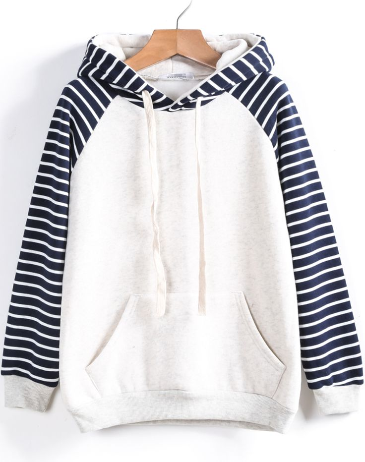 Shop White Contrast Striped Hooded Loose Sweatshirt online. Sheinside offers White Contrast Striped Hooded Loose Sweatshirt & more to fit your fashionable needs. Free Shipping Worldwide!
