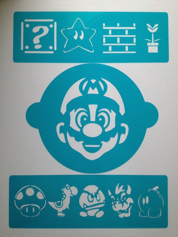 Mario Bros deco kit cake stencils  ! - Topper and cake side decorating stencils