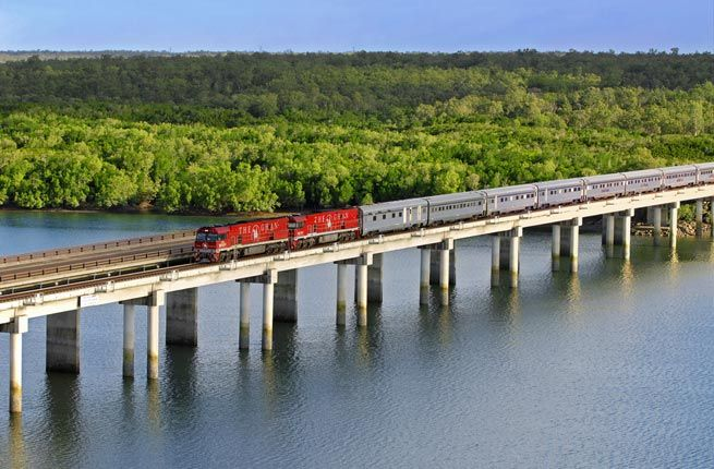 Operated by the Great Southern Rail, the Ghan takes passengers on one of the world's most iconic train journeys. The two-day, 1,861-mile route originates in Darwin and cuts south through the heart of the Outback. The wide windows in the train's comfortable cabins provide unobstructed views of the stark landscape as it turns deeper shades of red the farther south the train travels. Passengers can disembark for lengthy outdoor excursions at Katherine and Alice Springs.