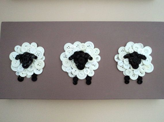 Button Sheep Nursery Decor by HomespunArtistries on Etsy, $30.00