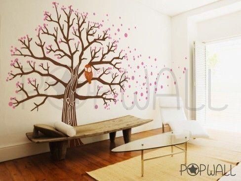vinyl wall art decal sticker [owl on blossom tree]