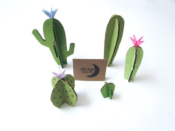 Cardboard Cactus Paper Plant Home Decor by PaperMoonCollective