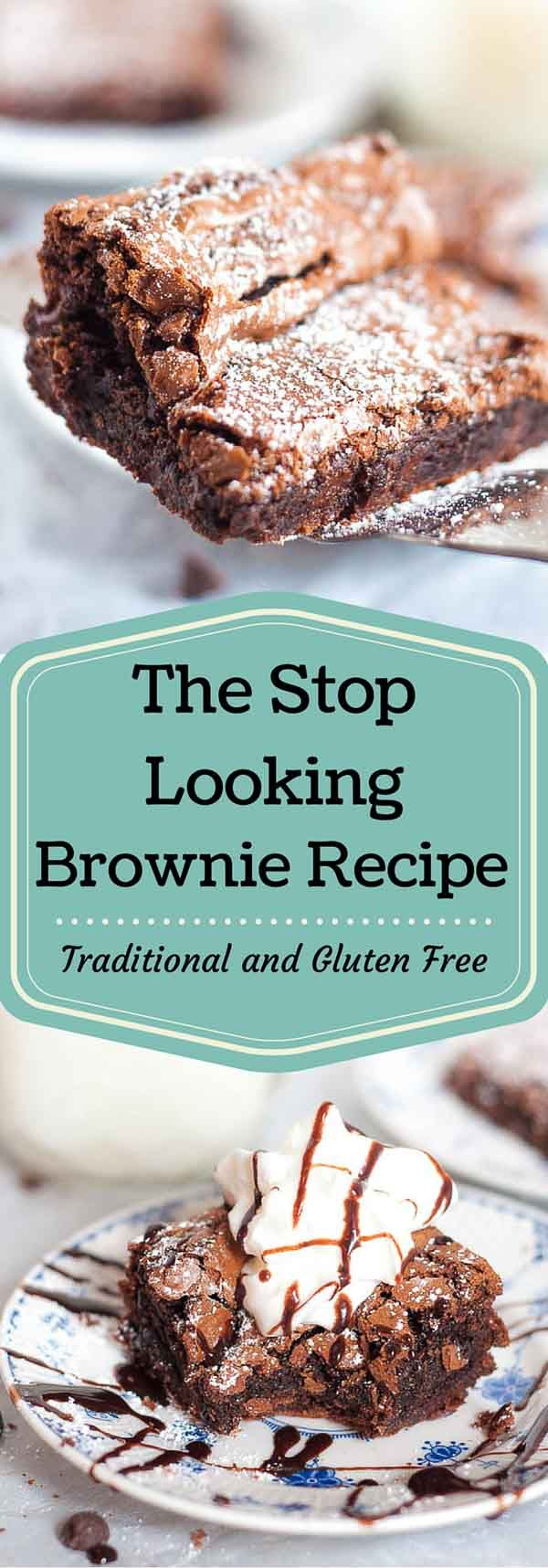 Everyone wants to find their go to, perfect brownie recipe. Here it is, so STOP LOOKING! The Stop Looking Brownie Recipe is chewy and fudgy with a crunchy top coating. Perfection! http://www.mamagourmand.com