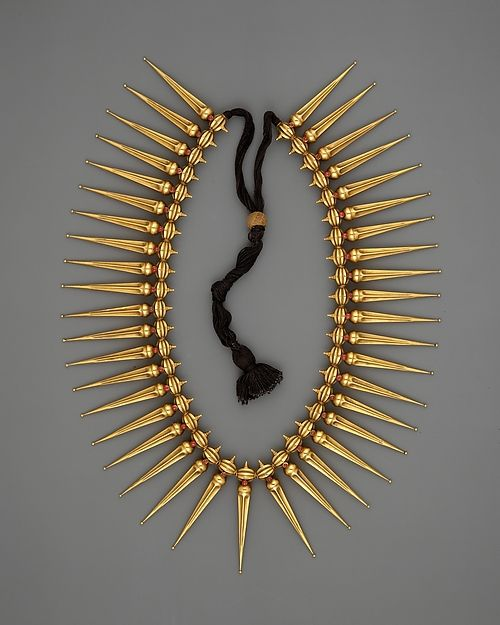 Jasmine-Bud Necklace (Malligai Arumbu Malai)  Date:19th century Culture:India (Tamil Nadu and Kerala) Medium:Gold with rubies strung on black thread Dimensions: