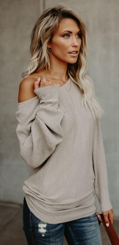 elegant one shoulder longsleeve in beige shade #omgoutfitideas #styleinspiration #casualstyle #women'sfashionstyletips
