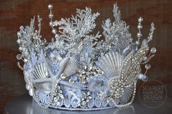 Silver Rhinestone Mermaid Tiara - siren - photoshoot - pageant - runway…