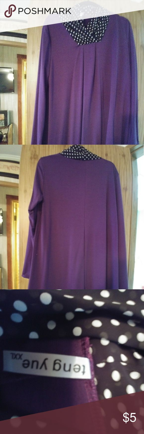 Women's top - tunic style Purple with black and white polka dot neck. Ordered a 2x but it runs small. True size should be L. Worn once. Full sleeves. Smoke free home. Looks cute with leggings. teng yu Tops Tunics