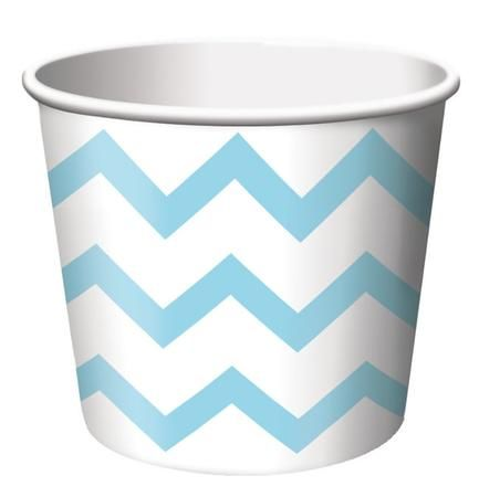 Pastel Blue Chevron Striped paper treat cups are the ideal size for serving snacks, ice cream, candy or filled with small party favors. Our Chevron striped paper treat cups are disposable and feature the popular chevron stripe pattern in light blue on a white background. The paper treat cups are constructed from medium weight card-stock and will brighten up any spring event, birthday party, Baby shower or any other special occasion. Treat cups measure 2.5 Inches x 3.5 Inches and package ...