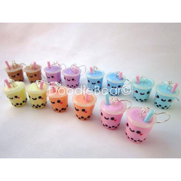 Bubble Tea Boba Drink Kawaii Polymer Clay Earrings ($12) ❤ liked on Polyvore