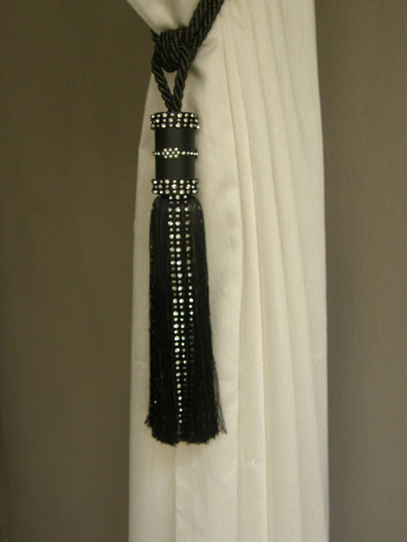 Black Lurex Gold With Black Wood Strass Tassel Curtains Etsy