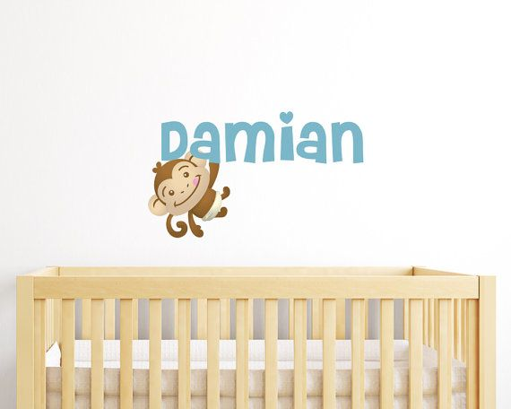 Swinging Monkey Nursery Wall Decal With Custom by LullaberryDecals