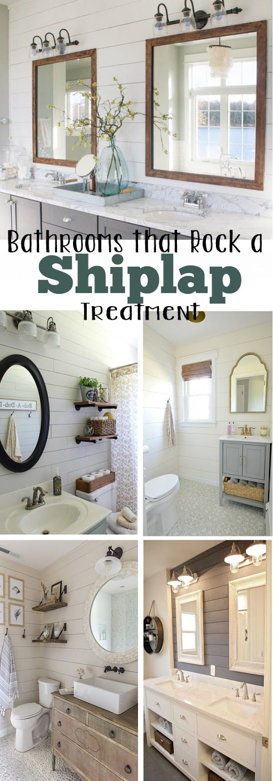 Bathroom wall decor quotes - 10 Bathrooms That Rock A Shiplap Treatment