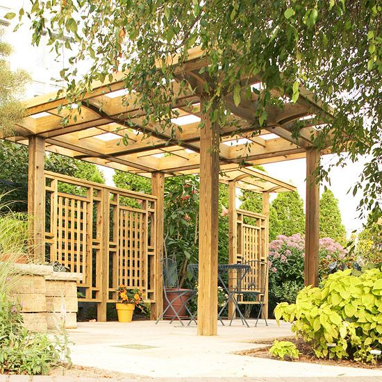 landscaping with a pergola decks pergola roof and lattices. Black Bedroom Furniture Sets. Home Design Ideas