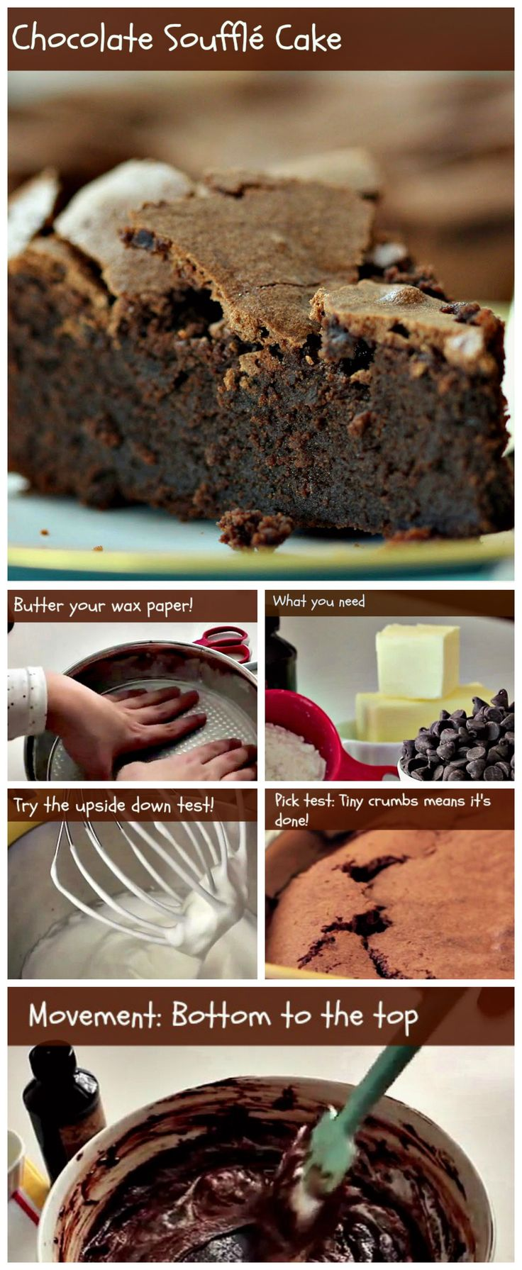 This chocolate souffle cake recipe has a crackly crust that guarantees crunchiness at the same time it protects the decadent, tender chocolaty center. Try it! #chocolatecake #souffle #cake