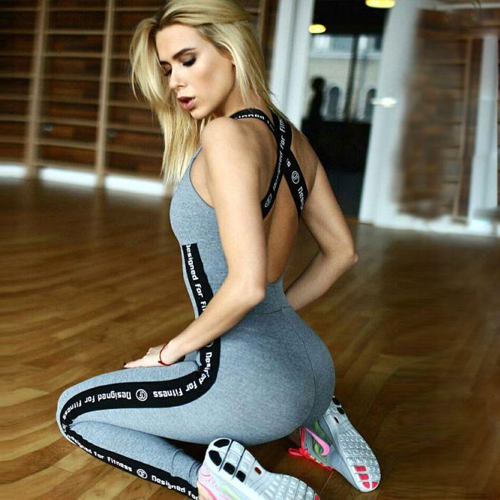 2016 Correas Cruzadas Backless Vendaje Deporte Mujeres Yoga Pantalones Medias Sexy Desgaste Físico Culturismo Ropa deportiva ropa