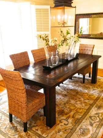 Love The Farmhouse Table And Seagrass Chairs House Ideas I Love Pinterest Chairs The O