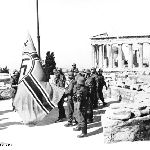 Ohi Day 2012 - Greece. On the photo: German soldiers raising the swastika flag…