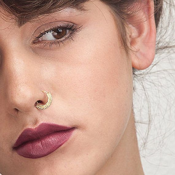 Indian Septum Ring - Solid 14k gold septum ring. The ring fits as body piercing too. Read along for more info.   ❖ ❖ ❖ Watch our entire septum jewelry