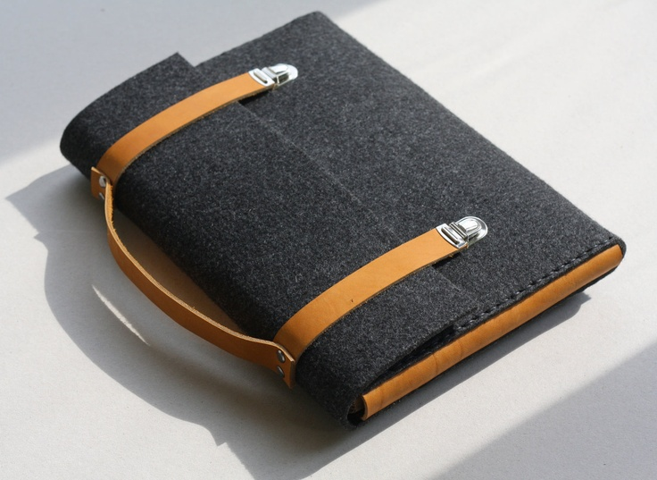 Case for 15 inch Apple MacBook Pro  gray anthracite  leather handle sleeve felt briefcase. $65.00, via Etsy.