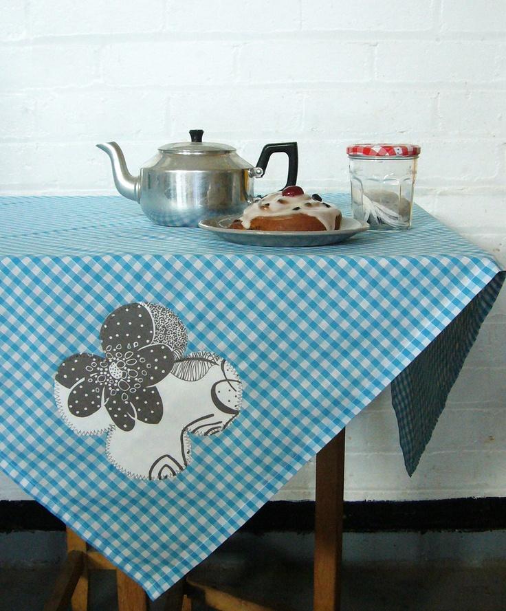 blue skies and grey petals square gingham picnic tablecloth. £24.00, via Etsy.