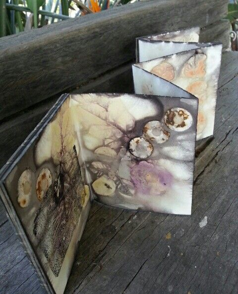 Opened out, concertina book.
