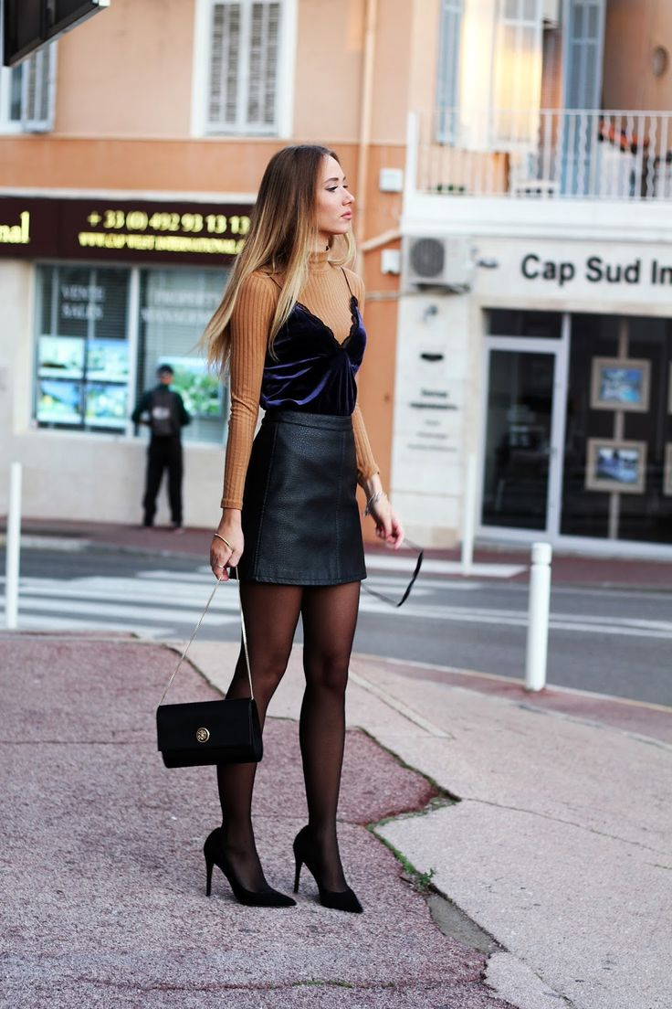 www.streetstylecity.blogspot.com Fashion inspired by the people in the street ootd look outfit sexy skirt heels leather miniskirt pantyhose