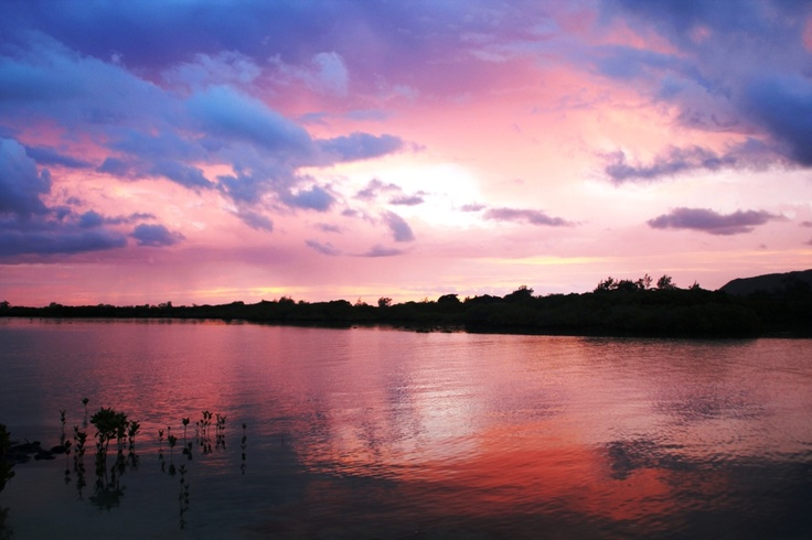 A spectacular sunset sky on the east coast of Mauritius