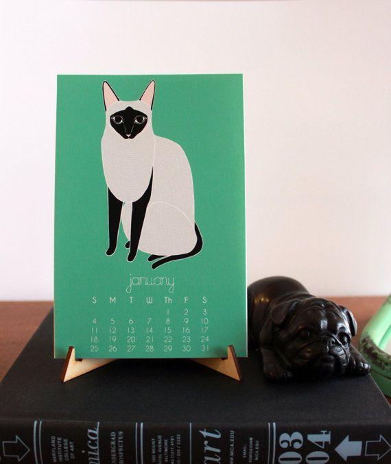 Cat 2015 Calendar Desk Calendar Wall Calendar by Gingiber on Etsy
