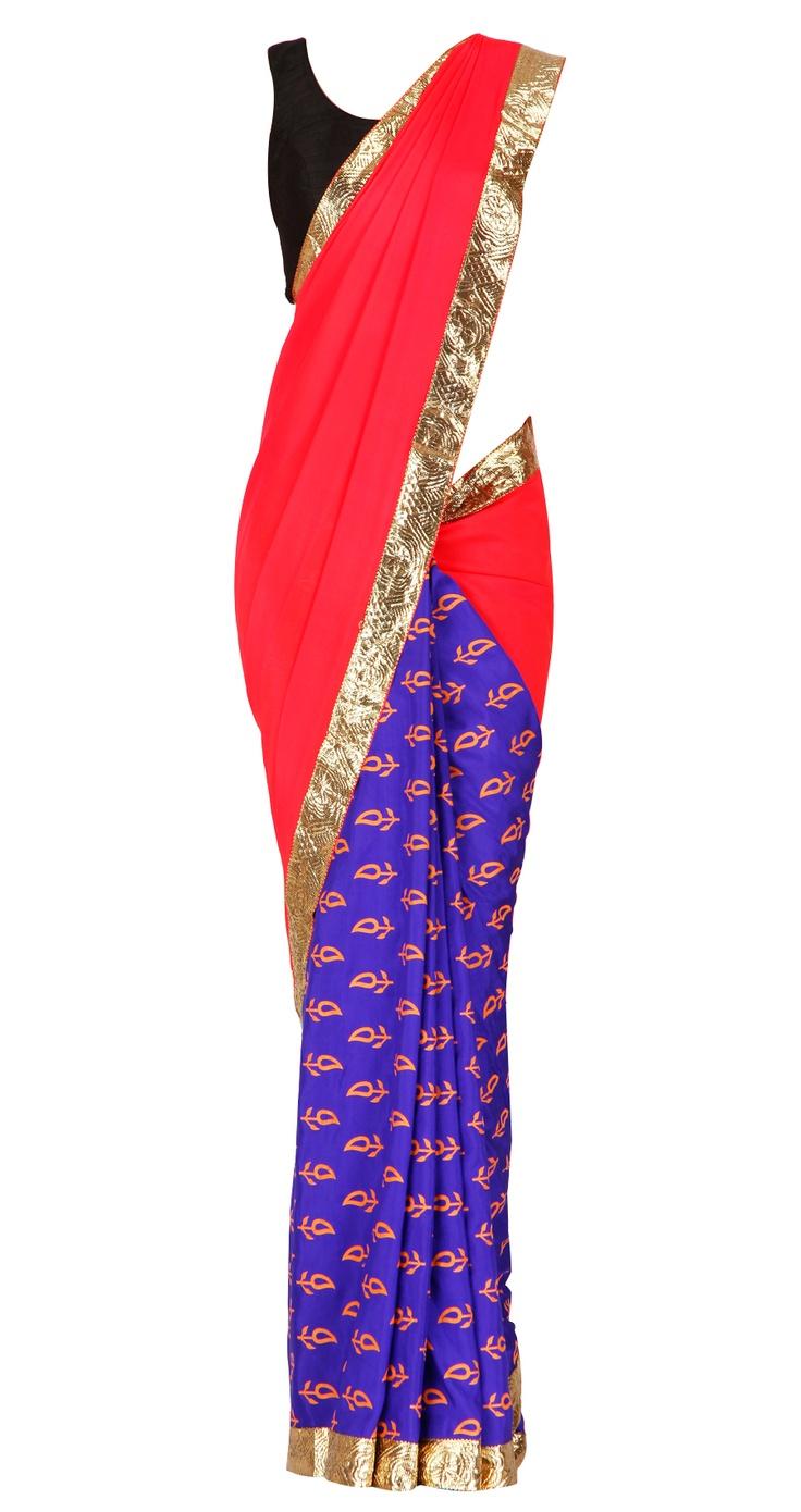 MASABA  Crepe & silk printed sari with gota  Product Code - AWPQ12MA Price - $ 278