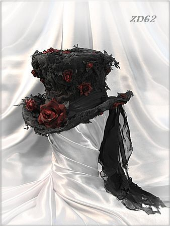 Victorian gothic Top Hat with Roses and Black Lace
