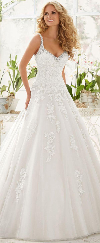 Stunning tulle vneck neckline aline wedding dresses with beaded