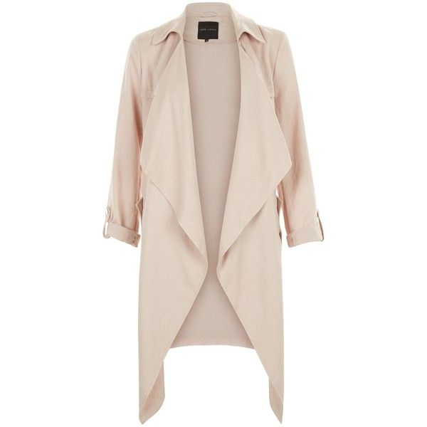 New Look Shell Pink Waterfall Duster Coat ($37) ❤ liked on Polyvore featuring outerwear, coats, jackets, tops, casacos, shell pink, shell coat, waterfall coat, duster coat and pink coat