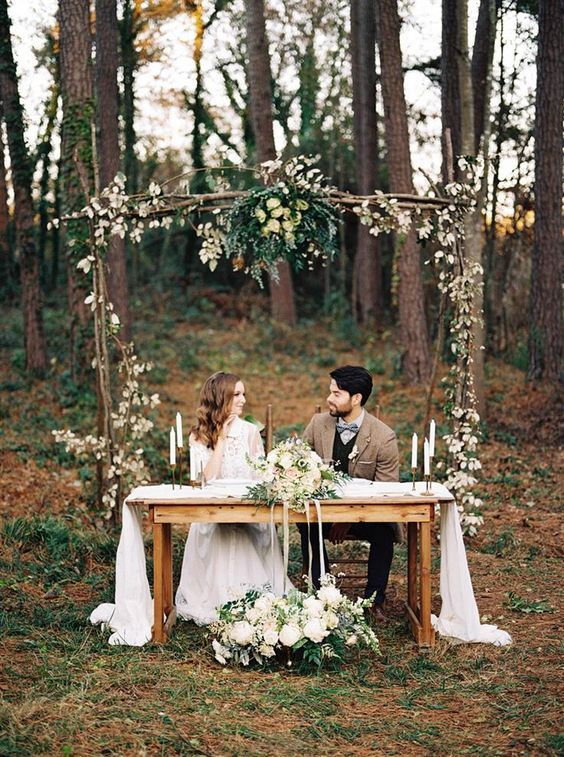 Elegant Rustic Woodland Wedding Arch Ideas / http://www.deerpearlflowers.com/perfect-ideas-for-a-rustic-wedding/2/