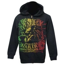 Bob Marley 1979 Wailers Live Men's Zip Hoodie (Charcoal Heather)     This charcoal heather Bob Marley Men's hooded sweatshirt shows Bob in concert with dreads flowing. Printed in the rasta colors on the front of the hoodie are the words, Bob Marley And The Wailers, Live In Concert, Paramount Theatre Seattle, Washington, Nov 20, 1979.