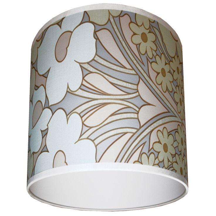 Vintage Clematis Wallpaper Lampshade in Pastel