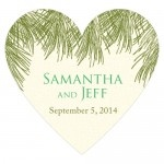 Wedding Stickers - Wedding Labels - Evergreen Heart Sticker Labels (5 Colors)
